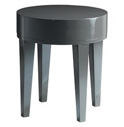 Garmond Modern Charcoal Grey Lacquer Round Small Side Table