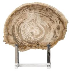 Palecek Sliced Rustic Lodge White Petrified Wood Steel Stand - 12.5 Inch