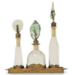 Boca Trio Coastal Beach Recycled Glass Decanters on Serving Tray | PAL-2174-79