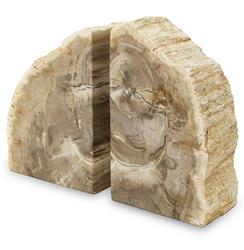 Palecek Petrified Modern Rustic Petrified Wood Bookends