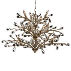 John-Richard Budding Crystal Hollywood Regency Gold Iron 16 Light Chandelier