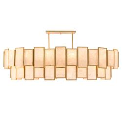 John Richard Hollywood Regency Gold Metal Calcite Panel 20 Light Pendant
