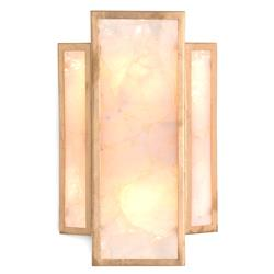 John Richard Hollywood Regency Gold Metal Calcite Panel 2 Light Sconce