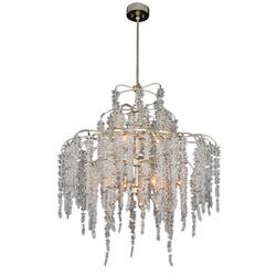 John-Richard Cascading Crystal Hollywood Antique Silver Iron 12 Light Chandelier