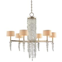 John-Richard Cascading Crystal Waterfall Hollywood Silver Iron 6 Light Chandelier