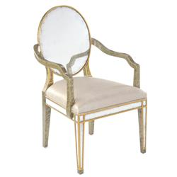 John-Richard Églomisé French Grey Upholstered Seat Acacia Wood Dining Armchair