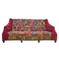Turner Global Bazaar Mixed Textiles Patchwork Button Tufted Sofa