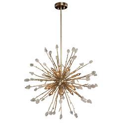 John Richard Quartz Hollywood Antique Silver Metal Crystal 16 Light Chandelier