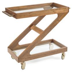 John-Richard Rustic Lodge Glass Top Brown Mango Wood Aluminum Handle Bar Cart
