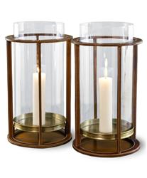 Pair Rustic Tahoe Modern Leather Hurricane Candle Holders | 518016