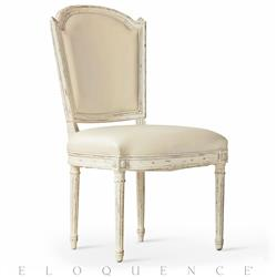 Flins French Country Ivory Leather Antique White Dining Side Chair | ELO-DCRC04-BR-GO