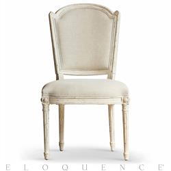 Flins French Country Antique White Fog Linen Dining Vanity Chair | ELO-DCRC04-FL-GO