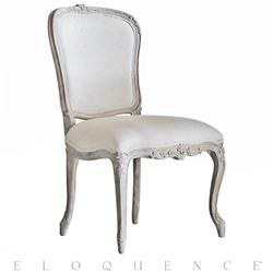 Colette French Country Duck Egg Taupe Fog Linen Dining Side Chair | ELO-DCRC05-FL-BN