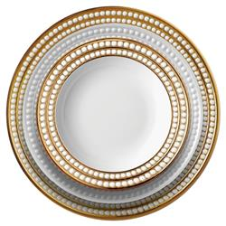 L'Objet Perlee Modern Classic White Porcelain Gold Rim Dinnerware Collection