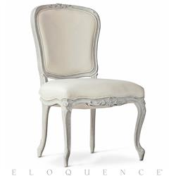 Colette French Country Ivory Leather Chalk Grey Wood Dining Side Chair | ELO-DCRC05-FR-CG