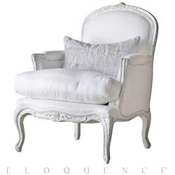 Eloquence La Belle Accent Bergere in Silver Antique White Two-Tone