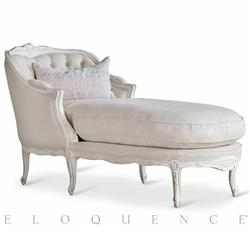 Louis Gustavian French Country Antique White Fog Linen Chaise Lounge | ELO-CHRC01F-FL-AW