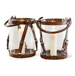 Pair Fontana Leather and Brass Buckle Candle Lanterns | 518017