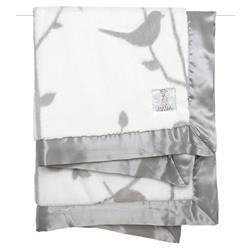 Little Giraffe Luxe™ Modern Classic Silver Birdsong Baby Blanket