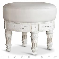 Petit Tabouret Gustavian French Country White Ivory Leather Ottoman Stool | ELO-ORC02-FR-GO