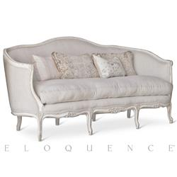 Matteo French Country Neutral Striped Linen Loveseat