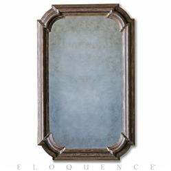 Vienna French Country Distressed Espresso Brown Wood Molding Antique Mirror | ELO-MRC02-ES