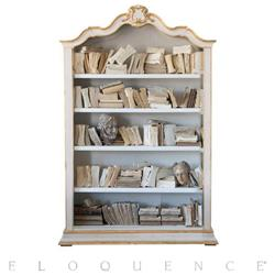 Eloquence Rousseau Bookcase in Gilt and Pale White