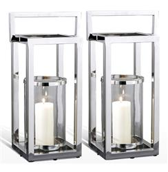 Pair Andalusia Modern Silver Square Candle Lanterns | 518023