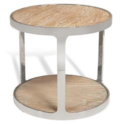 Interlude Soto Industrial Reclaimed Elm Stainless Steel Round Side Table