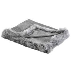 Aria Modern Classic Fur Trimmed Alpaca Throw Blanket - Grey