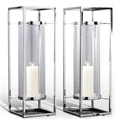 Pair Adour Silver Glass Modern Square Tall Hurricane Candle Holders