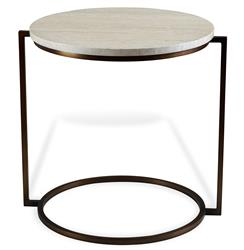 Bauhaus Cream Travertine Round Side End Table