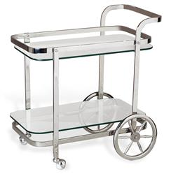 Viggo Hollywood Regency Rolling Silver Bar Cart | ILH-155032