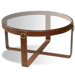 Interlude Jameson Modern Rustic Lodge Round Leather Coffee Table