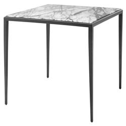 Eichholtz Henley Modern Classic White Marble Bronze Frame Side Table
