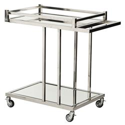 Eichholtz Beverly Hills Modern Classic Clear Glass Stainless Steel Bar Cart