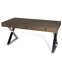 Interlude Menton Modern Industrial Loft Large Steel Wood Desk