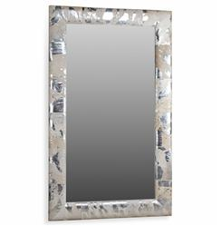 Interlude Aldo Hollywood Regency Grey Silver Metallic Hide Floor Mirror