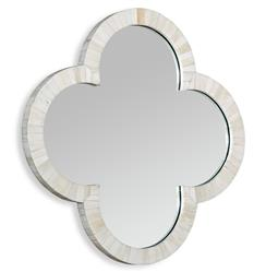 Cala Small Quatrefoil Global Coastal Cream Wall Mirror
