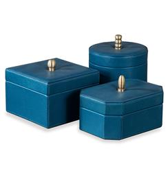 Avery Hollywood Regency Leather Trio of Boxes - Teal