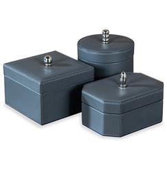 Avery Hollywood Regency Leather Trio of Boxes - Grey | ILH-925093