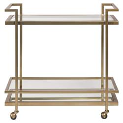 Bryson Industrial Loft Gold Steel Clear Glass Bar Cart