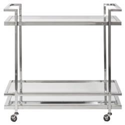 Bryson Industrial Loft Silver Steel Clear Glass Bar Cart