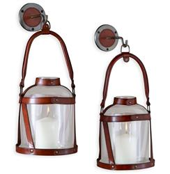 "Alta Vista Leather and Glass Wall Candle Lantern - 17""H 