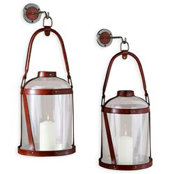 "Alta Vista Leather and Glass Grand Wall Candle Lantern - 24""H 