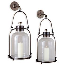 Alta Vista Antique Brass Glass Grand Hurricane Wall Candle Lantern - 20 Inch