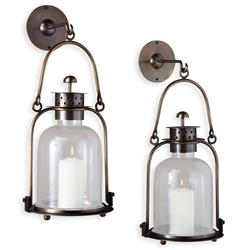 "Alta Vista Antique Brass Glass Hurricane Wall Candle Lantern - 15""H"