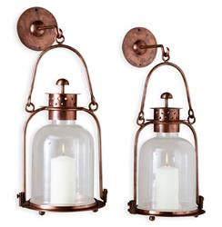 "Alta Vista Oxidized Copper Glass Hurricane Wall Candle Lantern - 15""H 