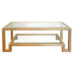 Maddocks Hollywood Regency Clear Mirror Tabletop Gold Metal Rectangular Coffee Table