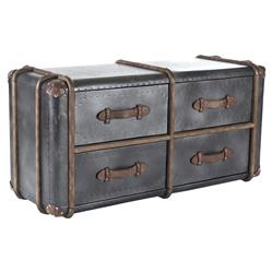 Coberg Industrial Grey Metal Wood Leather Strap 4-Drawer Dresser